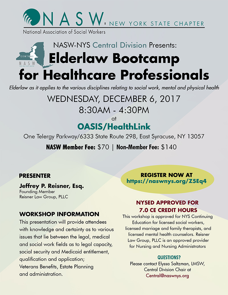 Elderlaw Bootcamp For Healthcare Professionals Nasw Nys